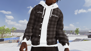 Black Flannel w/ white hoodie