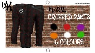 [4K] ACIDICAL FLORAL CROPPED PANTS