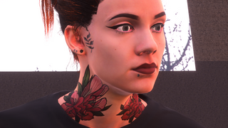 Female Tattooed Skin with Makeup and Piercings