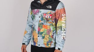 the north face x supreme world map
