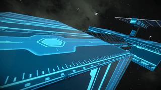 Neon astroid base hangar