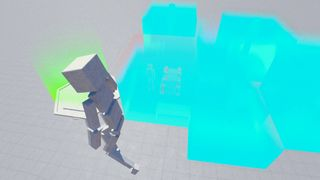 Fill a glass cube midway with ragdolls