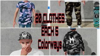 20 Clothers in different Colored Camouflage Looks