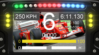 F1 dashboard with background image of the car used
